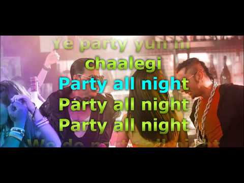 Honey Singh Party All Night - Boss Lyrics Video