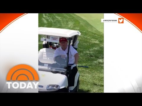 President Donald Trump Drives Golf Cart On The Green | TODAY