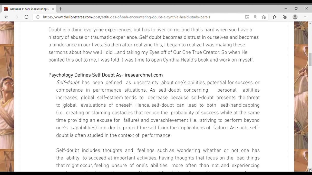 Attitudes of Yah  Encountering Doubt  A Cynthia Heald Study Part 1