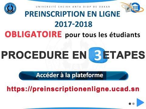 UCAD - Préinscription en ligne 2017-2018