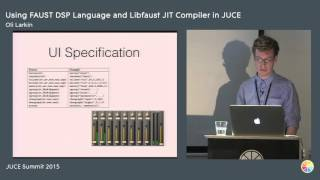 Using the FAUST DSP language and the libfaust JIT compiler with JUCE, Oli Larkin, JUCE Summit 2015(Abstract: FAUST (Functional Audio Stream) is a functional programming language for audio signal processing, created by Yann Oraley and developed at ..., 2016-03-21T09:25:53.000Z)