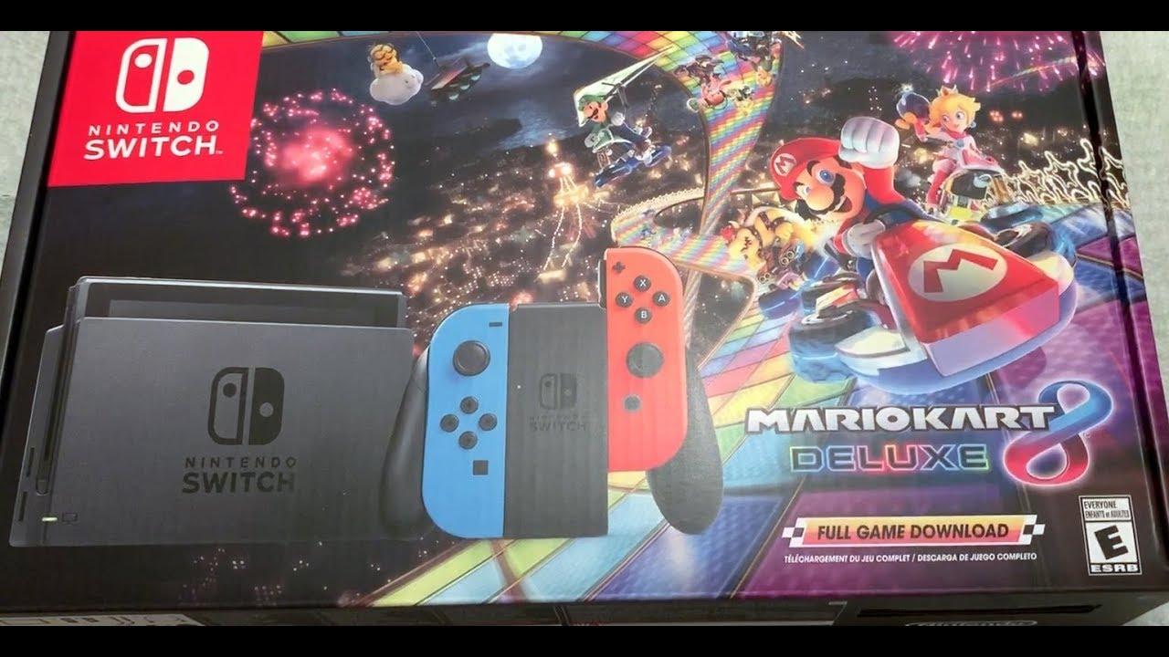 Nintendo Switch W Mario Kart 8 Deluxe Bundle Unboxing