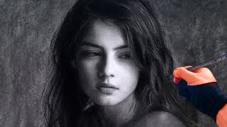 Beautiful Wistful Girl - Timelapse Art Portrait Video