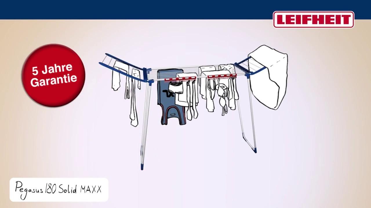 leifheit standtrockner pegasus 180 solid maxx german youtube. Black Bedroom Furniture Sets. Home Design Ideas