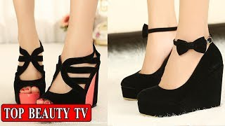 Black wedge sandals, black wedge heels for women