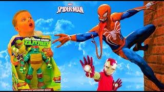 ЧЕРЕПАШКИ НИНДЗЯ! Человек паук против РАФА! Видео для детей