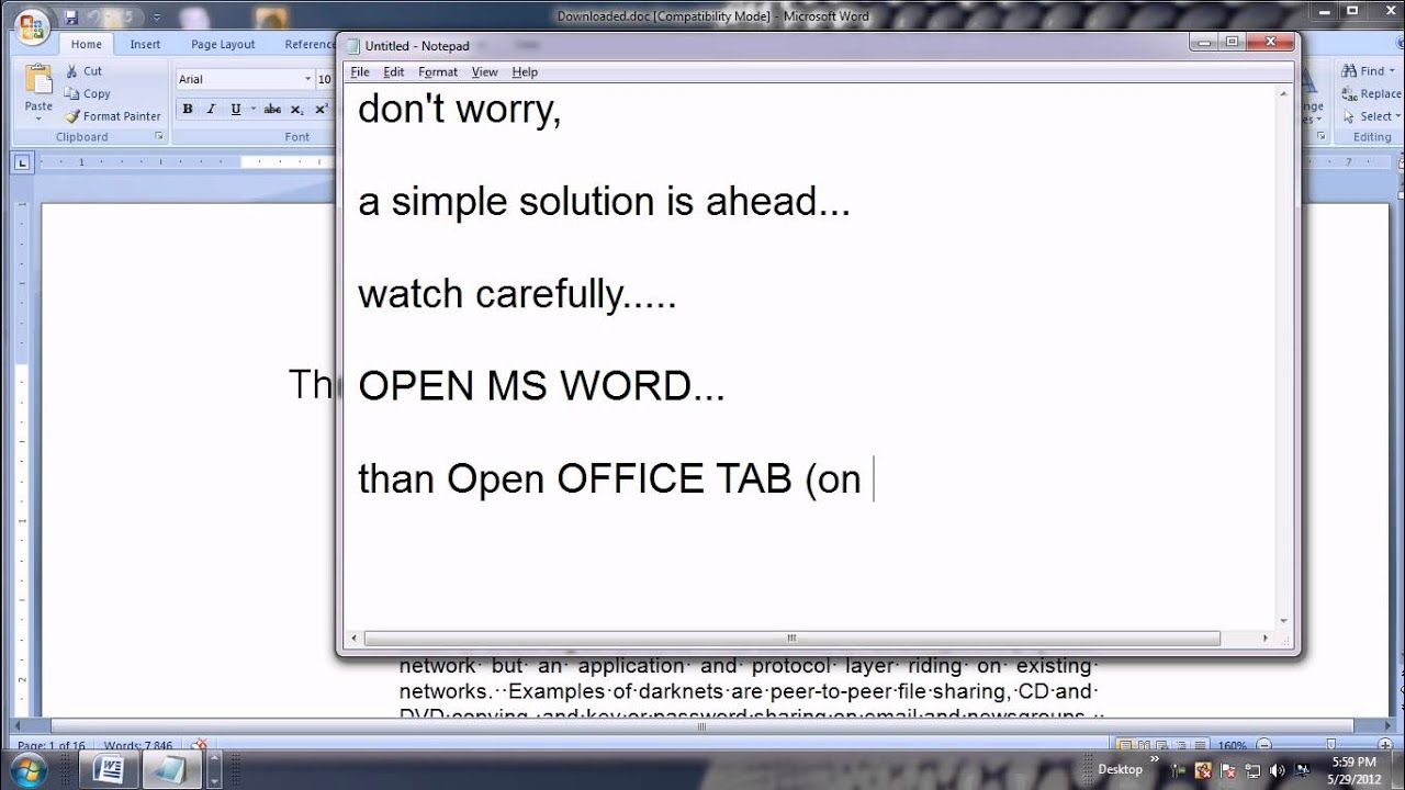 Simple Solution, If Dots (Bullets) Showing in place of SPACE in MS Word 2007