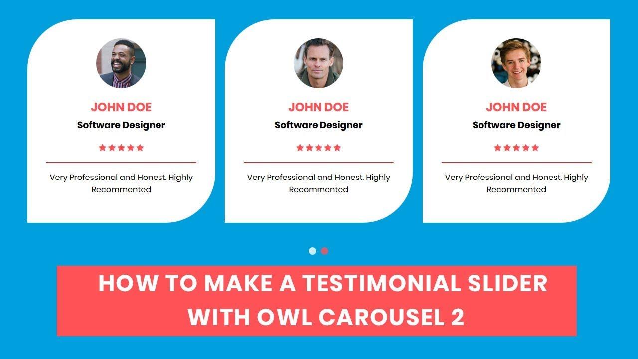 How to make a Testimonial Carousel with owl carousel | Owl Carousel 2 |  jQuery plugin Tutorial