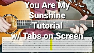 You Are My Sunshine - Johnny Cash Easy Chords and Fingerstyle Guitar Tutorial with Tabs on Screen