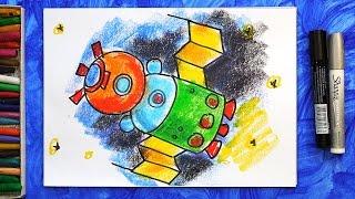 """Как нарисовать Космический корабль """"СОЮЗ"""", Урок рисования для детей"""