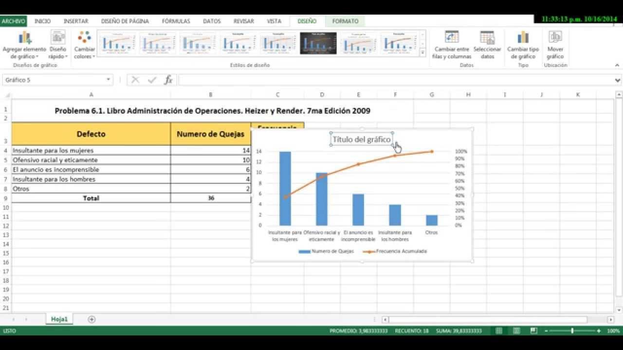 Diagrama de Pareto con Excel 2013 - YouTube