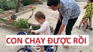 Con gái rượu Khương Dừa tập chạy xe đạp, hồi hộp quá!!!