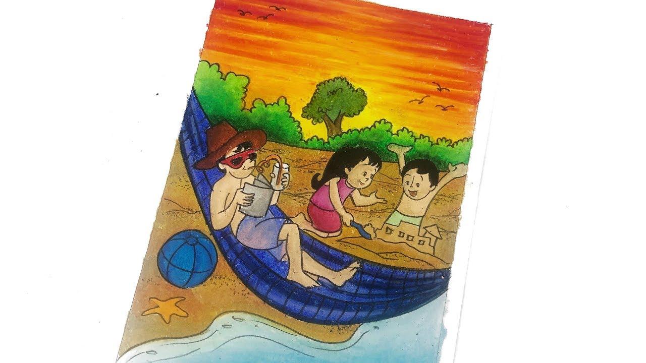 Menggambar Dan Mewarnai Pemandangan Pantai Drawing And Coloring Beach Scenery