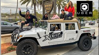 SHOCKING BEVERLY HILLS UBER RIDERS WITH MILITARY HUMMER PICK UP!