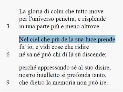 PARADISO - Canto I. Parafrasi e Note ai vv.1-9 e vv.103-142.