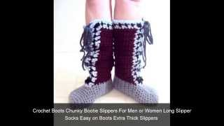 Mens Slippers - Knit and Crochet Slipper Socks - Easy on Boots - House Shoes by GrahamsBazaar