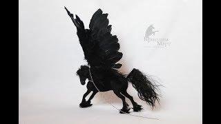 Каркасная лошадь. Вороной пегас ручной работы