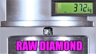 How Strong Are Uncut Diamonds? Hydraulic Press Test!