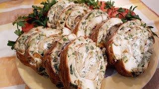 Рулет с сыром и овощами/вкусное дело/ выпечка и кулинария/рецепты Натали/кухня на изнанку
