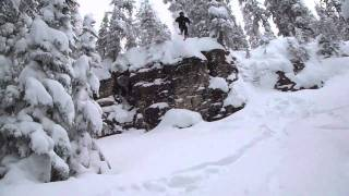 Cliff Jump in Vail Backcountry 20 Feet + Thumbnail