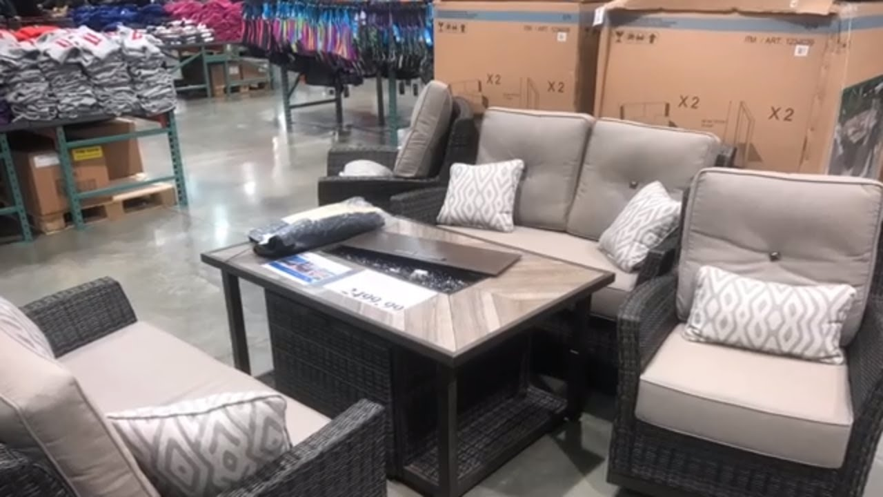 at costco wicker patio set with fire table