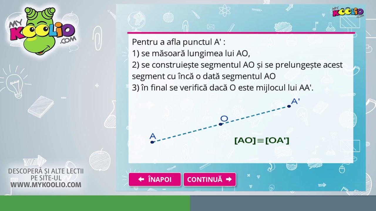 Lecție demo matematică, clasa a VI-a, Segmente congruente; mijlocul unui segment. Simetria