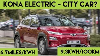Kona EV as a city car?  Urban / City efficiency test. What can you expect.