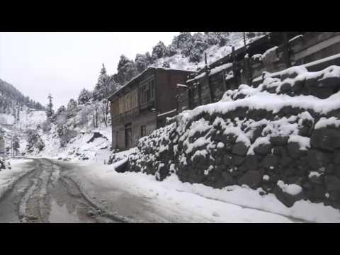 Travel in Snow fall Kalam to Bahrain 12 March 2016 KPK Pakistan