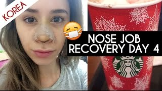 NOSE JOB PLASTIC SURGERY IN KOREA VLOG DAY 4 RECOVERY