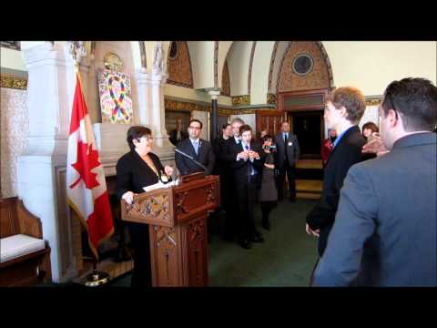 Tommy at World Autism Awareness Day on Parliament Hill with Jeremy Roberts