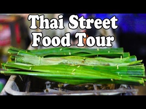 Street Food at a Night Market in Thailand. Thai Street Food Tour.