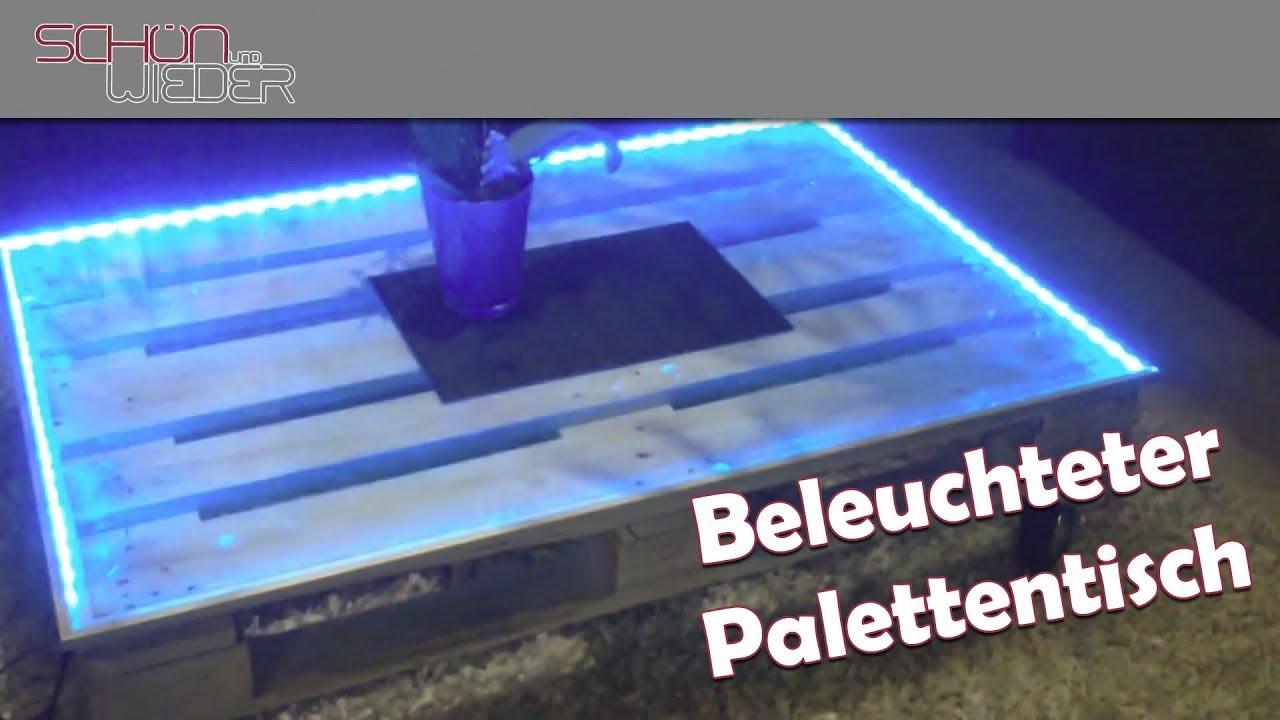 Couchtisch palettentisch mit led beleuchtung youtube for Wohnzimmertisch 3 beine
