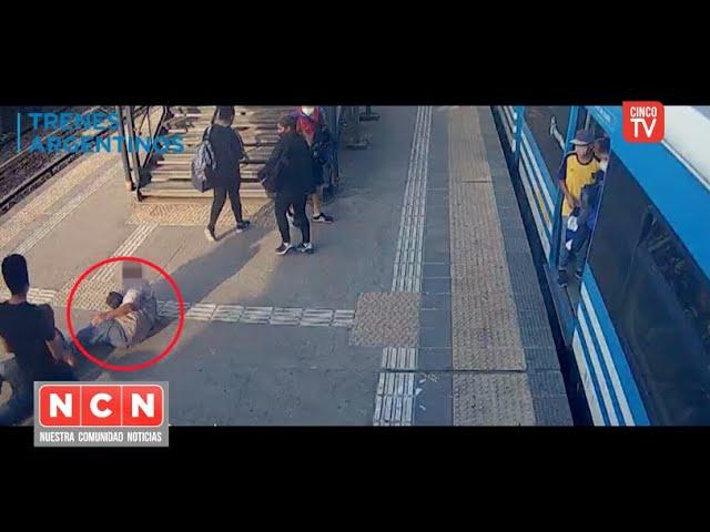 CINCO TV  - Arrebatador de celulares fue tomado a golpes por su víctima en la Estación Liniers