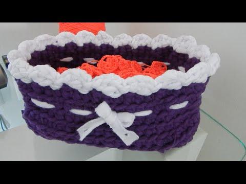 Bolso o canasto de cuerda y crochet funnycat tv - Cesta de cuerda y ganchillo ...