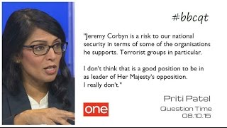Priti Patel and Melanie Phillips defend the indefensible on Question Time (BBCQT 8 Oct)