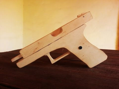 How to make EASY BLOWBACK!!! Glock [rubber band gun] wood tutorial Free template