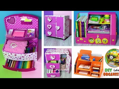 4 DIYs AMAZING ORGANIZERS from Cardboard// Back to School