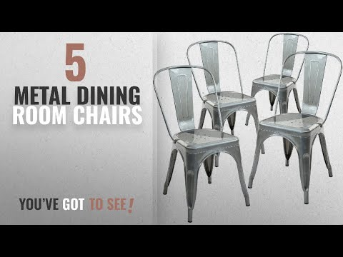 Top 10 Metal Dining Room Chairs [2018]: Poly and Bark Trattoria Side Chair in Polished Gunmetal (Set