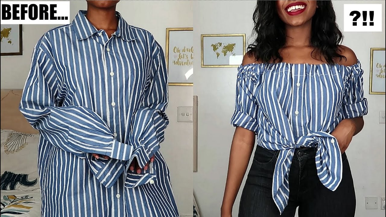 5189c94ab2932e DIY Off The Shoulder Top | Men's Shirt Refashion - YouTube