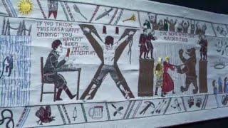 Juego de tronos en un gigantesco tapiz Video