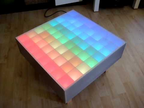 64 rgb led color wave table arduino 12x tlc5940 youtube - Table basse a led ...