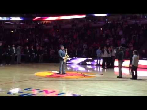 Jay Moynihan playing the National Anthem at the NBA chicago Bulls game 2/13/14