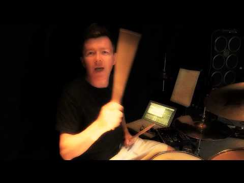 Rick Astley playing drums. Spanish tour sept 2015