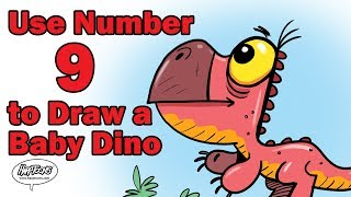 Use the Number 9 to Draw a Baby Dinosaur