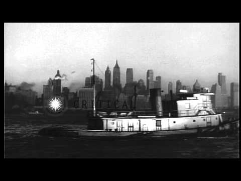 Views Of Manhattan Island, New York City, From Boat On Hudson River. HD Stock Footage