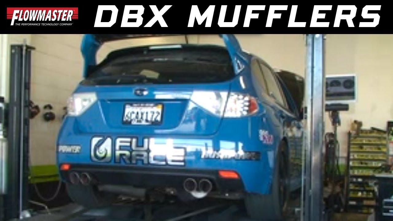 Flowmaster dBX mufflers on 590hp Subaru WRX STI - YouTube