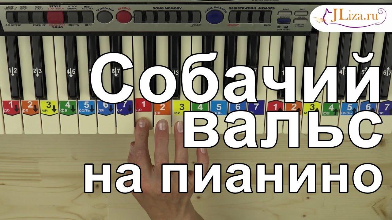Как играть Собачий вальс на пианино - YouTube