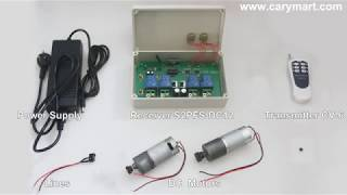 Rotate and reverse 2 DC motors by single rf remote