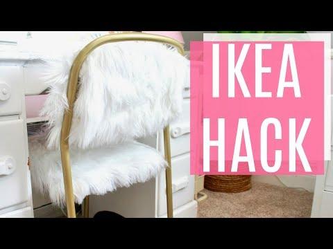 DIY FUR & GOLD CHAIR // IKEA HACK