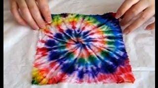 Видео мастер-класс по узелковому батику узор «спираль» tie-dye DIY(На примере салфетки 20см на 20см показано как можно расписывать ткань, что бы получилась радужная спираль..., 2013-08-15T10:35:58.000Z)
